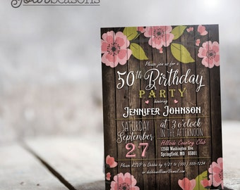Rustic Pink & Green Floral Birthday Party Invitation - Personalized Printable DIGITAL FILE
