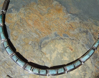Calvin Begay ~ Navajo Vintage Sterling and Turquoises with Opal Inlay Necklace
