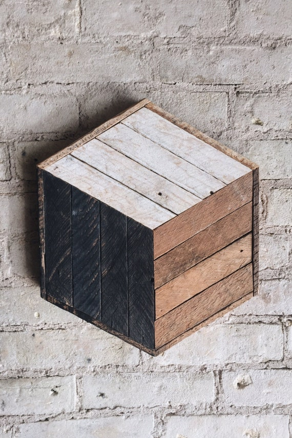 Reclaimed Wood Wall Art, Decor, Cube, Lath, 12 x 14