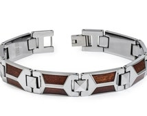 Tungsten Carbide Bracelet with Trapezoid shaped Hawaiian Koa Wood Inlay