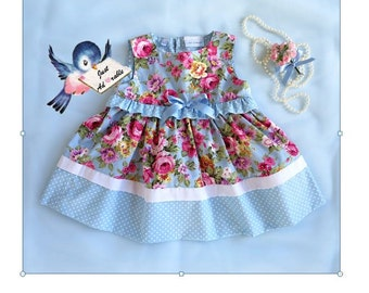 ON SALE Girl's clothes, Baby dress, Frilled baby dress, Blue rosy dress - bodice frill. Size 3-6mths, 6-12mths  and 18-24mths  Ready to Ship