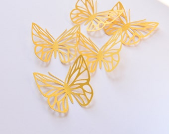16 Yellow Butterflies Wall Art - Large Paper Butterflies - 3D Paper Butterflies - Butterfly Decoration - Butterfly Birthday Décor