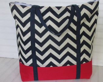 Weekender Navy Chevron Carry On Bag Zippered Tote With Pockets Overnight Bag Red White and Blue