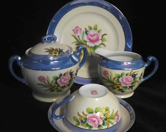 Noritake hand painted plate, creamer, sugar bowl, cup and saucer