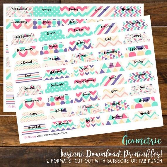 diy printable single sided bible tabs geometric by elatdesigns