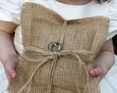 Beautiful Shabby Rustic Hessian Burlap Wedding Ring Bearer Pillow