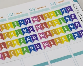 Rainbow Weekend Planner Stickers for Erin Condren Life Planner, Weekend Banners, Weekend Stickers