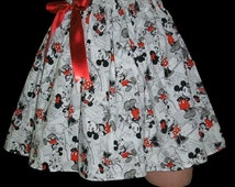 Ready to ship Adult Gathered Elastic Waist Twirl Lolita Skirt Sissy Baby Dress Up Mouse Red Skirt Satin Bow Handmade Skirt
