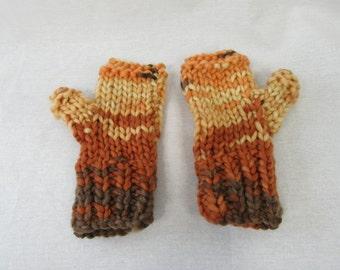 Brown, Orange and Beige Fingerless Gloves