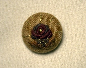 Hand Embroidered Pin/Brooch - Autumn Rose