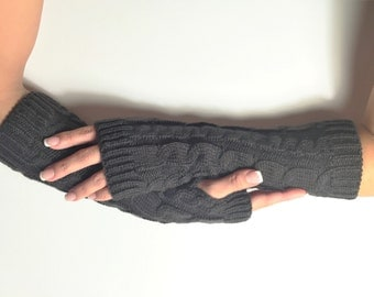 Fingerless Gloves knitted, Arm Warmers, Hand Warmers, Winter Gloves, Knit Mittens, Women Gloves