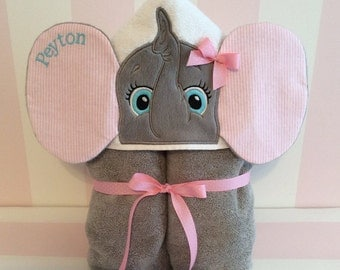 Elephant Embroidered Personalized Hooded Towel, Personalized Bath Towel, Hooded Child Beach Towel, Girl Elephant Hooded Towel