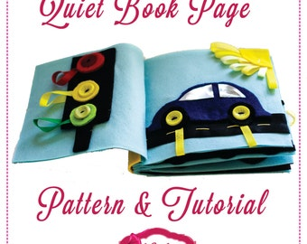 Quiet Book Pattern - Car Page PDF Pattern and Illustrated Tutorial for No Sew Quiet Book Page with Applique Car and Traffic Light.