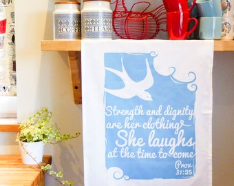 Cotton Tea Towel - She laughs at the time to come