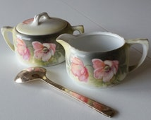 Vintage Porcelain Covered Sugar and Creamer - RS Tillowitz Silesia Yellow Gray with Pink Peach Wild Roses