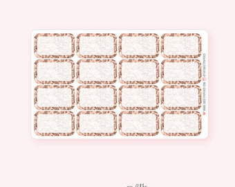 Rose Gold Glitter Half Box Planner Stickers