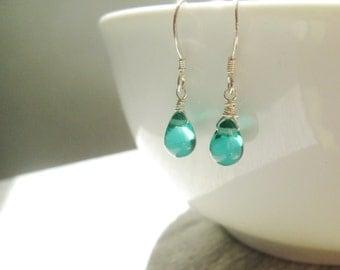 Teal Czech Glass Droplet Earrings, Teal Sterling Silver Earrings, Turquoise Glass Dangle Earrings, Earrings under 15, Bridesmaid Earrings