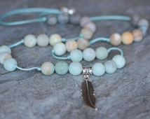 feather necklace boho amazonite turquoise necklace women necklace gemstone jewelry gift for girl necklace cord beaded long necklace knotted