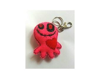 Pink octopus keyring, octopi pink keychain, felt octopi keyring, zombie octopus, octopi pin cushion, sealife felt keyring, octopi bag charm,