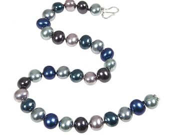 Large Multi Color Shell Pearl necklace Sterling Silver clasp, Pearl necklace, Silver necklace