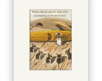 Mouse, mice story book art, Farm Animals matted and ready for frame, Perfect gift for your favorite Mouse Lover!