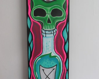 Skull on Poison Bottle Acrylic Painting