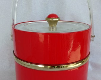PLASTIC ICE BUCKET, Fire Engine Red, Insulated, Lucite handle