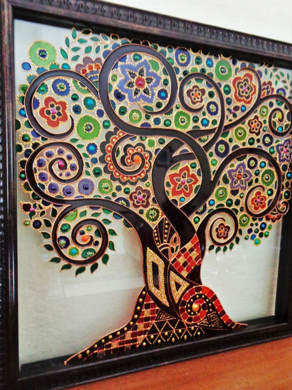 Tree Of Life Art Glass Painting Painted Glass Tree Of Life