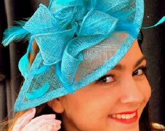 Turquoise Fascinator, Womens Tea Party Hat, Church Hat, Kentucky Derby Hat, Fancy Hat, Turquoisw Hat, Tea Party Hat, wedding hat