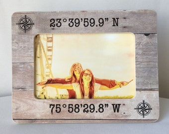 SUMMER SALE Latitude Longitude Coordinates GPS Coordinates Frame Gift Long Distance Frame Personalized Picture Frame