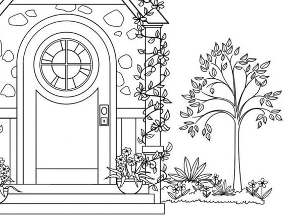 cottage coloring pages - photo#21