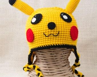 crochet pikachu,pikachu hat,pokemon hat,winter hat,kids hats