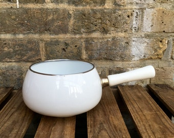 French Vintage White Enamel Saucepan with Wooden Handle