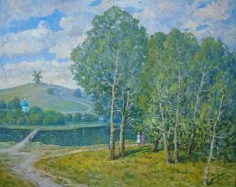 VINTAGE SUMMER LANDSCAPE Original Oil Painting by a Ukrainian artist Zhezher A. 1970s Genre Painting, Countryside scenes, Ukrainian Art