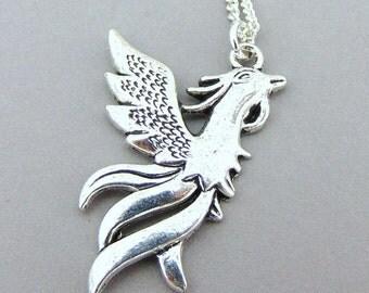 Silver Phoenix Necklace, Silver charm Necklace, Phoenix Charm Necklace, Phoenix Pendent, Silver Necklace, Trendy Necklace, Fantasy Necklace,