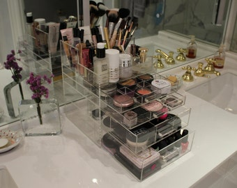 Clear Acrylic Makeup Organizer SleekBox ALL-IN-ONE Brush Holder and Lipstick Holder Vanity Cosmetic Storage Beauty Drawer BeautyFill Box