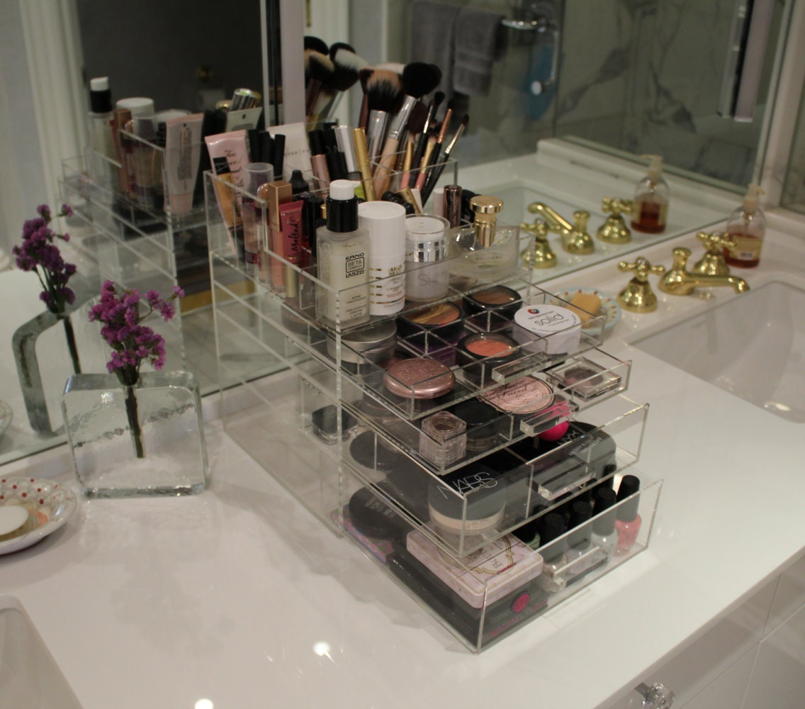 Clear Acrylic Makeup Organizer Sleekbox All In One Brush