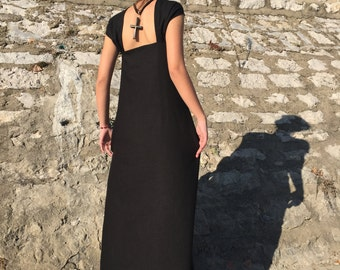 Long Linen Dress, Black Linen Dress, Black Dress, Long Black Dress, Open Back Kaftan, Maxi Caftan, Prom Dress, Beach Dress, Boho Dress
