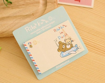 Rilakkuma in Paris Sticky Notes - Cute Kawaii Bear Sticky Notes / Kawaii Stationery / Cute Stationary / Cute School Supplies / Sticky Notes
