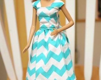 Blue Cheveron Barbie dress, Barbie Clothes, Barbie, kayleesboutique03