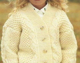 """Aran design Girls Cardigan PDF Knitting Pattern with cables 22-28""""  and Boys"""