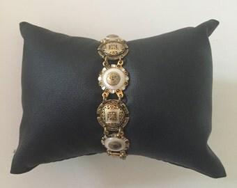 Vintage Retro 1950s 1960s 50s 60s gold metal & enamel bracelet / cuff - Mad Men style