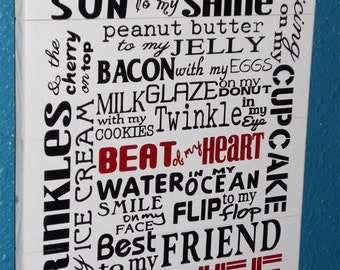 You are the love of my life Sign • Sun to my shine  • Peanut Butter to My Jelly • Typography Wood Sign  • Kitchen Wood Sign  • Wooden Sign
