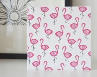 Flamingo Print Blank Greeting Card