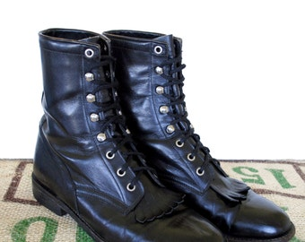 Black Western Lace up Cowtown Boots – Vintage - Made in Mexico – Size US M 9.5 US L 11 - Frontier Cowboy Justin Style Ankle Boots