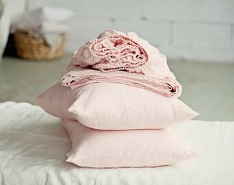 Bed sheet set. 4 pieces linen sheet set. Flat sheet, fitted sheet and pillow cases. US Queen sheet set. US King sheet set. US bed sheets.