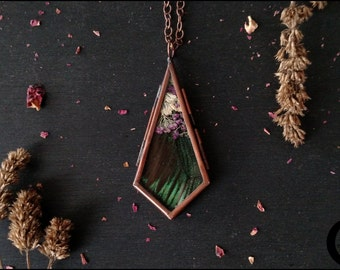 Real Butterfly Wing And Pressed Flower Locket Necklace