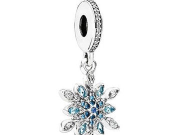 Pandora Crystalized Snowflake Sterling Silver Dangle Charm Clear CZ's and Blue Crystals # 791761NBL - Comes in Pandora Hinged Charm Box