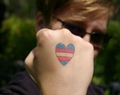 Transgender Flag Heart Temporary Tattoo - Small