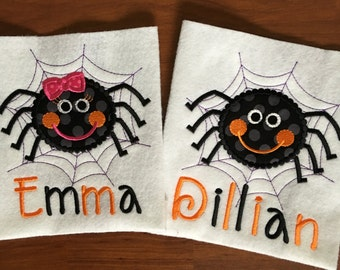 Girl or Boy Halloween Spider in a Web Appliqué Shirt or Onesie - Trick or Treat